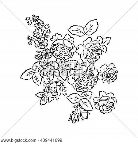 Black Silhouette Of Rose Isolated Over White. Vector Illustration. Rose, Vector Sketch On A White Ba