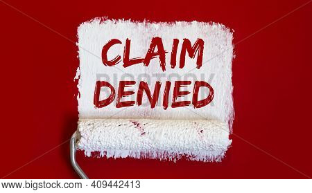Claim Denied .one Open Can Of Paint With White Brush On Red Background.