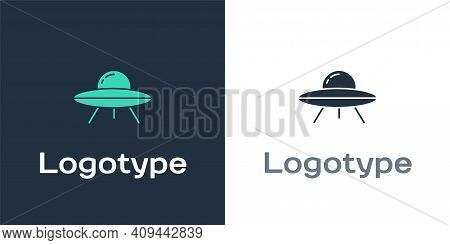 Logotype Ufo Flying Spaceship Icon Isolated On White Background. Flying Saucer. Alien Space Ship. Fu