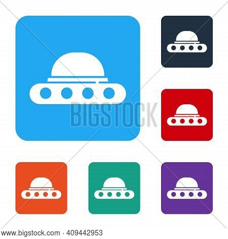 White Ufo Flying Spaceship Icon Isolated On White Background. Flying Saucer. Alien Space Ship. Futur