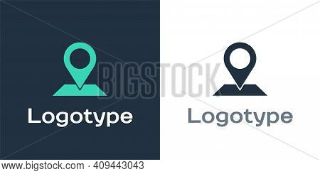 Logotype Map Pin Icon Isolated On White Background. Navigation, Pointer, Location, Map, Gps, Directi