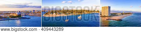 The Panorama View From A Cruise Ship Of Port Everglades And Beach In Ft. Lauderdale, Florida, Usa.