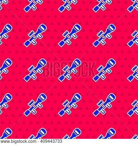 Blue Sniper Optical Sight Icon Isolated Seamless Pattern On Red Background. Sniper Scope Crosshairs.