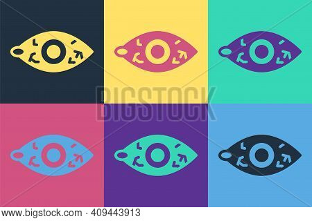 Pop Art Reddish Eye Due To Viral, Bacterial Or Allergic Conjunctivitis Icon Isolated On Color Backgr