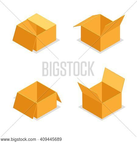 Paper Cardboard Package Boxes Isometric Open Empty Pack Box Isolated Icons Set Design Vector Illustr