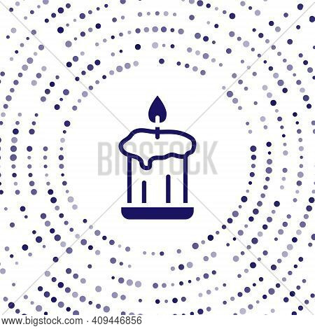 Blue Burning Candle In Candlestick Icon Isolated On White Background. Old Fashioned Lit Candle. Cyli