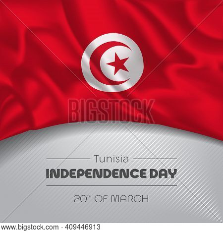 Tunisia Happy Independence Day Greeting Card, Banner Vector Illustration