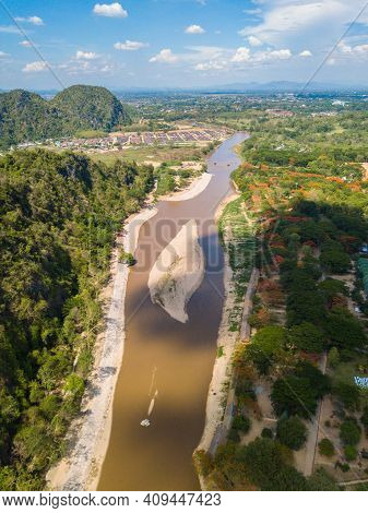 Aerial View Of Dry River Of Kok River In Hot Season Nearly Chiang Rai Beach, A River Bank With Rocky
