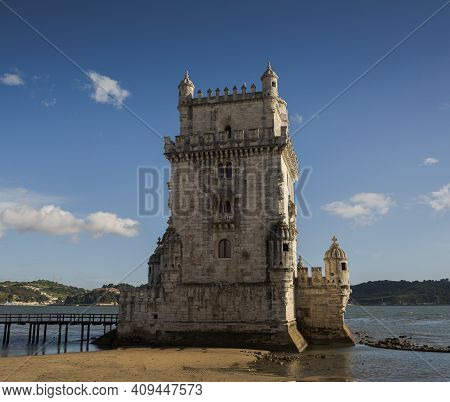 Views Of The Belem Tower, A 16th Century Fortification Located In Lisbon, Portugal