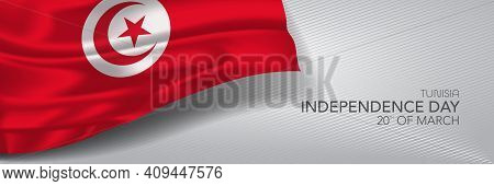Tunisia Independence Day Vector Banner, Greeting Card.