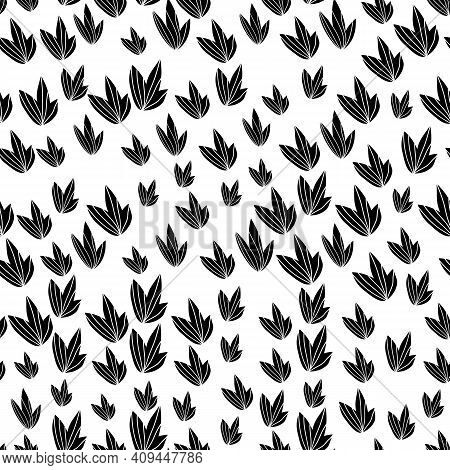 Floral Seamless Pattern With Monochrome Exotic Leaves, Modern Background. Tropic Black And White Bra