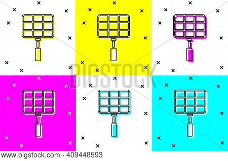 White Barbecue Steel Grid Icon Isolated On White Background. Top View Of Bbq Grill. Wire Rack For Bb