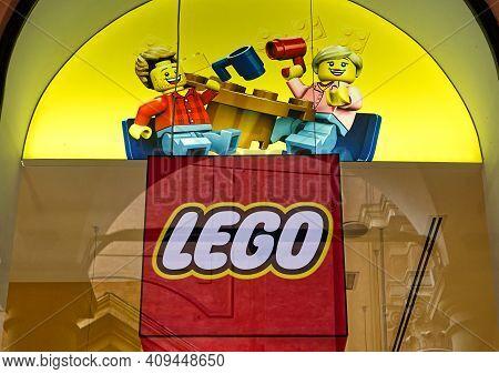 Bologna - Italy - February 21, 2021: Lego Shop Window In Bologna. Lego Toy Store.