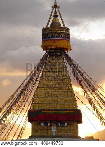 Vertical Shot Of Boudhanath Stupa In The Tibetan Enclave Of Kathmandu, Nepal