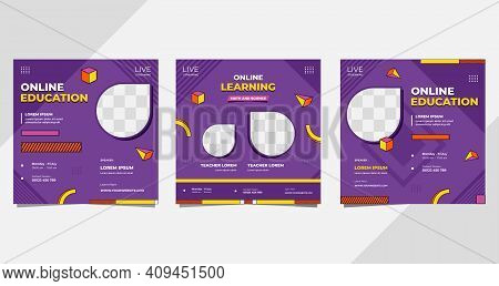 Set Of Social Media Post Templates For Online Classroom Program, Online Education, And Other E-learn