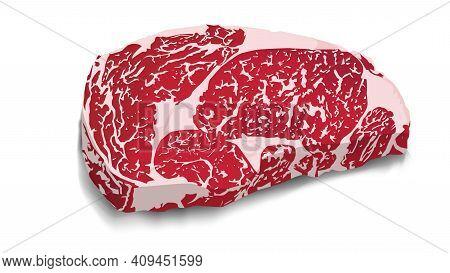 Realistic Steak Meat. Cow Pork Steak Grill Food Beef Raw Vector Illustration