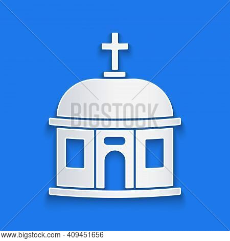 Paper Cut Santorini Building Icon Isolated On Blue Background. Traditional Greek White Houses With B