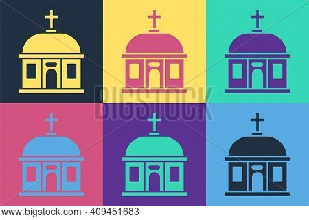 Pop Art Santorini Building Icon Isolated On Color Background. Traditional Greek White Houses With Bl