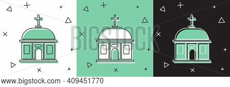 Set Santorini Building Icon Isolated On White And Green, Black Background. Traditional Greek White H
