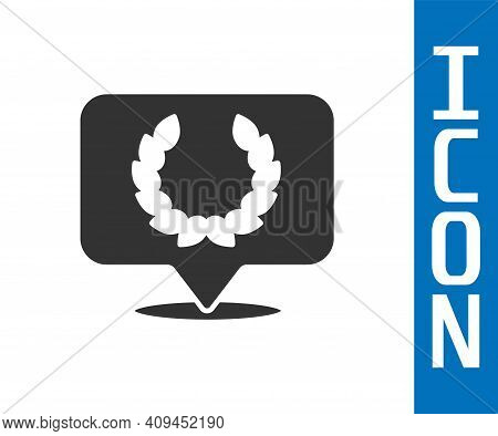 Grey Laurel Wreath Icon Isolated On White Background. Triumph Symbol. Vector