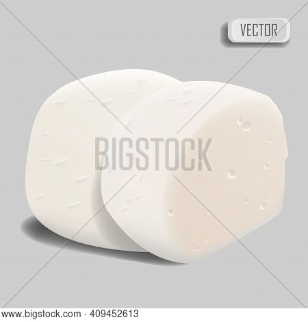 Mozzarella Cheese. Realistic Cheese On White Background. Vector Illustration