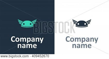 Logotype Helmet With Wings Icon Isolated On White Background. Greek God Hermes. Logo Design Template