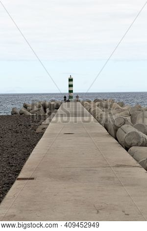 Funchal, Portugal - September 8, 2016: The Green And White Lighthouse In Funchal, Madeira Island, Po
