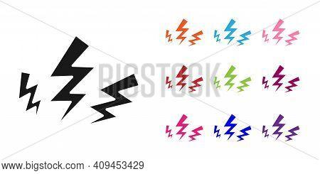 Black Zeus Icon Isolated On White Background. Greek God. God Of Lightning. Set Icons Colorful. Vecto