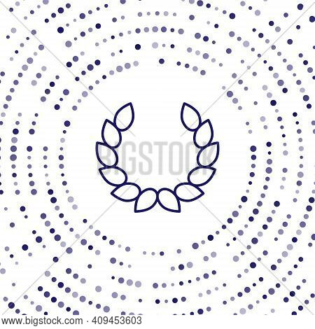 Blue Laurel Wreath Icon Isolated On White Background. Triumph Symbol. Abstract Circle Random Dots. V