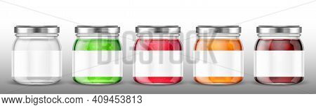 Glass Jars With Jam And Blank Label. Vector Realistic Mockup Of Clear Pots With Conserve Fruit, Jell