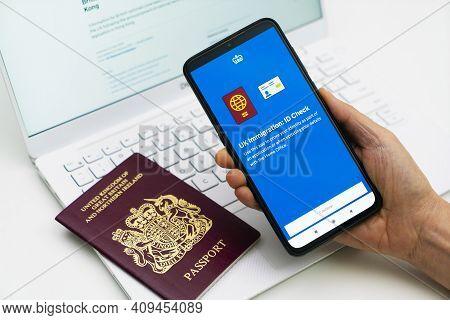 Melbourne, Australia - Feb 23, 2021: Applying For The Hong Kong Bno Visa Using Newly Released Smartp
