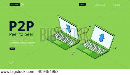 P2p Network, Peer To Peer Connection Banner. Concept Of Distributed Computing Between Different Comp
