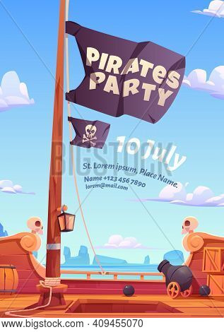 Pirates Party Flyer, Invitation For Adventure Game Or Event. Vector Poster With Cartoon Illustration