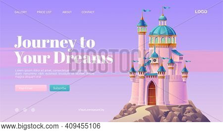 Journey To Your Dream Cartoon Landing Page With Pink Magic Castle, Princess Or Fairy Palace With Tur