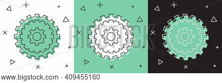 Set Bicycle Cassette Mountain Bike Icon Isolated On White And Green, Black Background. Rear Bicycle