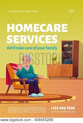 Homecare Services Poster. Concept Of Social Aid And Care For Old Patients At Home. Vector Flyer With