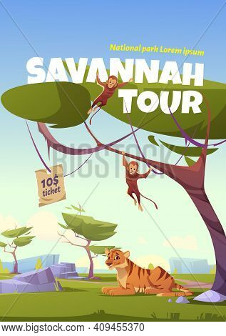Savannah Tour Cartoon Poster, Invitation In National Park With Wild Animals. Tiger And Monkey Jungle
