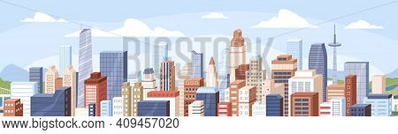 Panoramic View Of Modern Buildings, Skyscrapers, Towers In Business City Block. Horizontal Cityscape