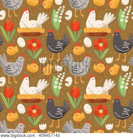 Hen, Cock, Chicken, Egg, Nest, Poppy Flower, Snowdrop. Poultry Farm. Seamless Pattern, Texture, Back