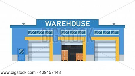 Modern Warehouse Building Loading Docks. Storage Center Logistics.isolated Object White Background.