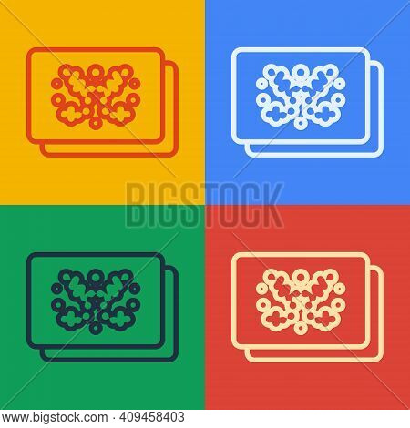 Pop Art Line Rorschach Test Icon Isolated On Color Background. Psycho Diagnostic Inkblot Test Rorsch