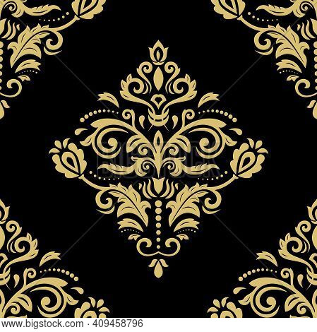 Orient Vector Classic Pattern. Seamless Black And Golden Background With Vintage Elements. Orient Ba