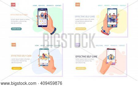 Set Of Pictures About Photosession Of People On Self-isolation. Treatment Process On Phone Screen. E