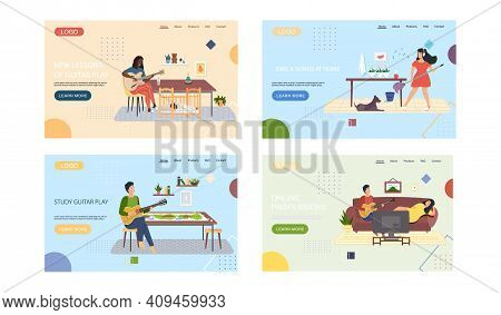 Set Of Illustrations About Musicians Performing Songs With Guitar. Website Sing And Play Instrument.