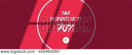 Horizontal Poster Design Template For The Day Of Sale. The Shadow From The Window Falls On A Light P
