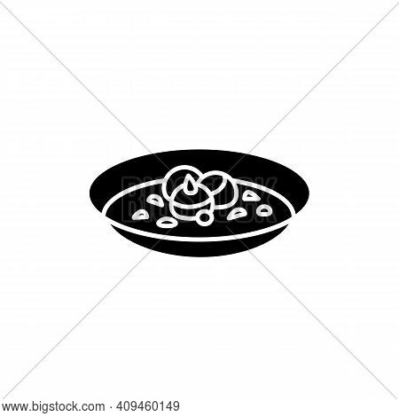 Hobakjuk Glyph Icon. Traditional Korean Pumpkin Porridge Bowl. Vegan Asian Food For Breakfast. Korea