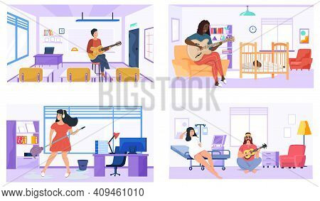 Set Of Illustrations With Performers Practice Chords. People Play Guitar At Home, Office, Hospital A