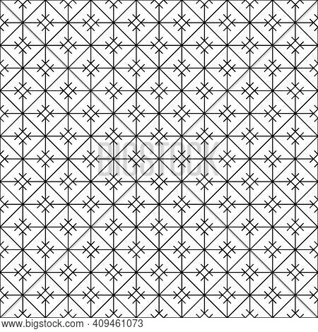 Japanese Seamless Kumiko Pattern In Black .fine Lines.