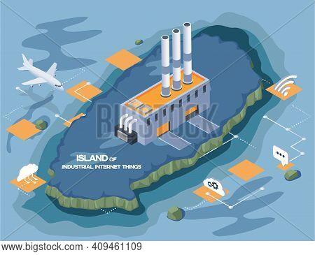 Island Of Industrial Internet Things, Modern Production Plant Building, Autonomous Enterprise. Facto
