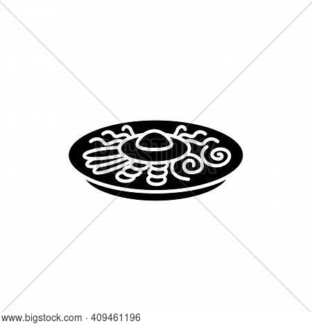 Bibimbap Glyph Icon. Traditional Korean Dish. Asian Food Of Mixed Rice With Vegetables, Chilli Paste